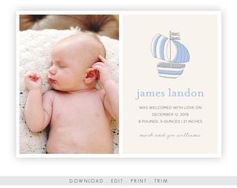 Nautical Newborn Birth Announcement | Printable Template, Nautical Newborn Photo Card, Sailboat Newborn Announcement, Instant Download