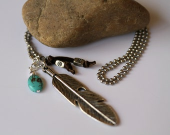 Men's, Unisex Antiqued Silver Feather Charm Ball Chain Necklace
