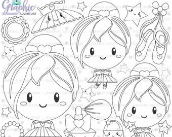 Ballerina Stamps, Ballet Stamps, COMMERCIAL USE, Digi Stamp, Digital Image, Ballerina Digistamp, Ballerina Coloring Page, Stamps