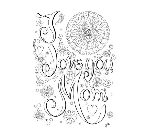 coloring page Love Mom printable adult coloring pages