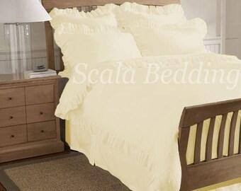 Edge Ruffle Duvet Cover Set 800TC Ivory 100% Egyptian Cotton Select Size