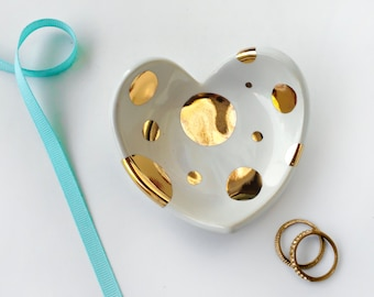 Heart Polka Dot Ring Dish - Wedding, Valentine's Day, Ring Holder, Anniversary, Bridesmaid Gift - Wedding Favor, Engagement, Mother'