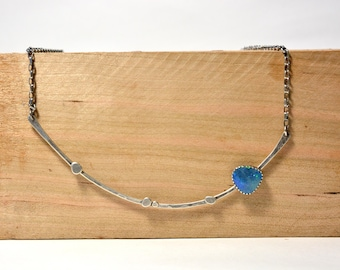 Ready to ship - Sterling silver stick necklace with Australian Opal