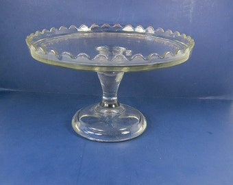 Vintage CAKE STAND Glass Salver Scallop Rim Circa 1900s EAPG Donut Pastry Display