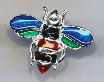 Colorful Enameled Steampunk Bee . Bumblebee Stamping Ring . Honey bee . Statement Ring . Cocktail Ring - Bee Happy by enchantedbeas on Etsy