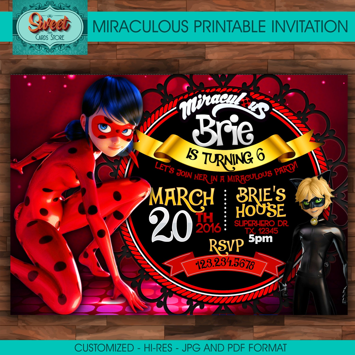 Amado Miraculous personalized digital invitation miraculous ladybug GY94