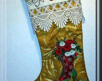 Elegant, Victorian Boot, Embroidered Christmas Stocking, Christmas Stocking, gold metallic fabric, victorian lace, victorian boot, flowers