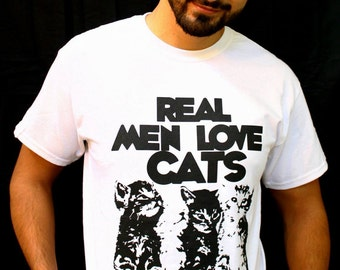 Father's Day Gift, Real Men Love Cats, for him, funny gift for dad, cat dad, cat shirt, gifts for dad, cat clothes, Cat Shirt, for boyfriend