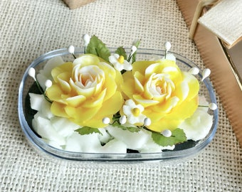 Double Yellow Roses Hand Carved in Soap Bar with Jasmine Aroma Essential Oil, Decorative Soap Flower Carving by Thai Artisan. Gift Ideas