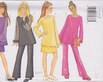 Butterick 6898 Girls'  Tunic Top, Skirt, Pants and Bag Sizes 12, 14, 16 UNCUT Pattern Rare and OOP Easy Pattern