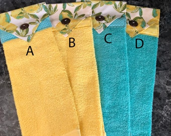 Lemon Hanging Towels in Yellow and Turquoise