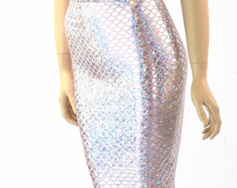 "27"" Pencil Skirt in Silver on Pink Mermaid Scale -152135"