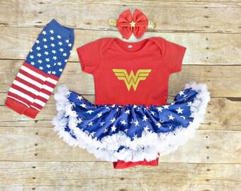 Wonder Woman Superhero Halloween girl dress costume, pettiskirt Tutu dress/bodysuit, headband, leg warmers outfit. Baby toddler NB-18 months