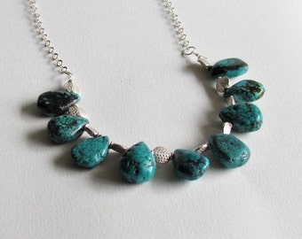 Natural Turquoise Bead Necklace - Turquoise Jewelry - Clearance Jewelry - 25th Anniversary Gift - December Birthstone
