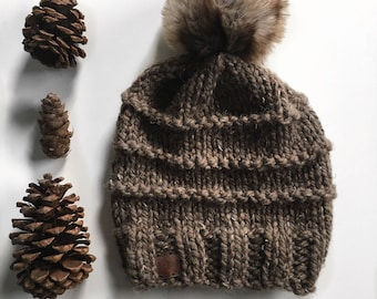 The Mountain Ridge Beanie in Barley // Knit Hat // Knit Beanie // Slouchie hat