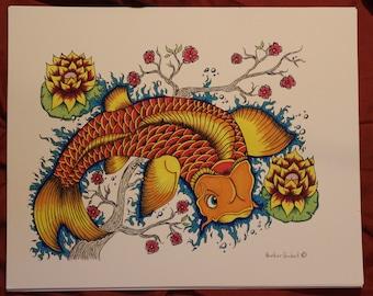 "art print ""koi fish"" 10.5x13.5"