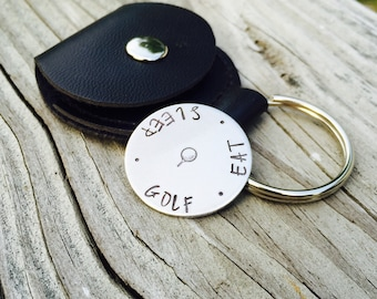 Eat Sleep Golf Hand Stamped Golf Ball Marker Aluminum Coin, Traditional 10 Year Anniversary Gift For Him, Leather Snap Pouch Carrying Case