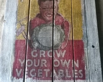 Pallet Poster vintage wartime rationing upcycled