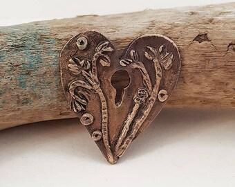 Summer's End Keyhole Bronze Metal Clay Heart Pendant