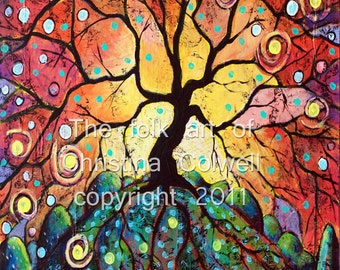 "Fiery Tree of Life Instant Download 8"" X 10""  printable art from original mixed media contemporary raw folk art"