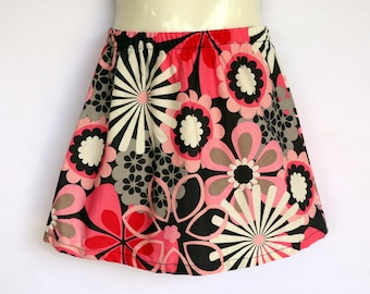 Girls Pink & Black Floral Skirt - sizes 1 to 5 avail - retro, 70's cotton flower
