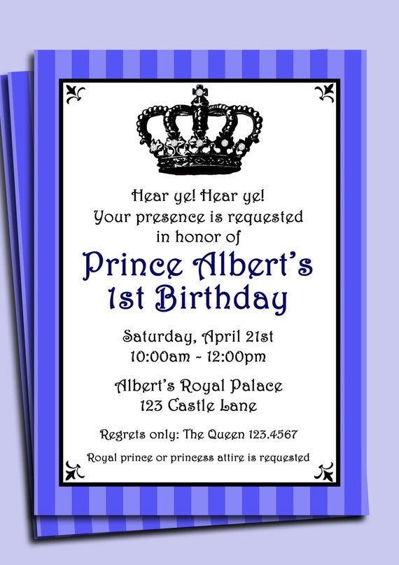 Prince Invitation Printable or Printed with FREE SHIPPING