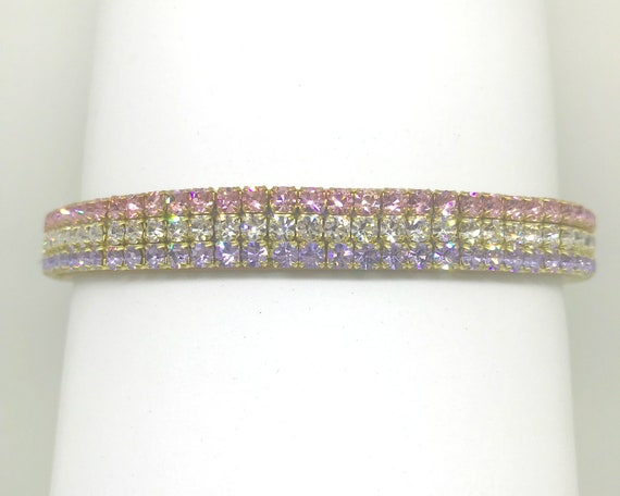 Bling Cutie Pie Pet Collars TM Pink & Violet Purple ~Ice Cream Popsicle~ Crystal Diamante Rhinestone PU Leather Pet Dog Cat Collar USA