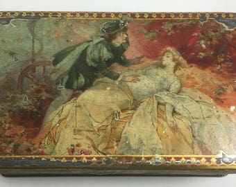Beautiful Antique Mazawattee One Pound Tea Tin Romeo and Juliet ?