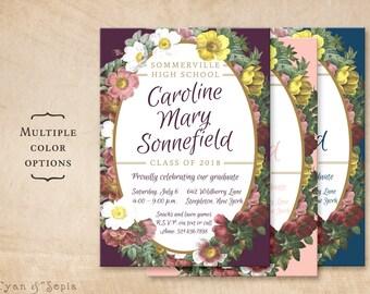 Floral Wreath Graduation Party Invitation - Personalized Printable 5x7 - Plum Purple Blush Pink Navy Blue Vintage Flowers Grad Ceremony
