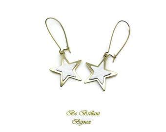 Leather star earrings, Stud Earrings, white