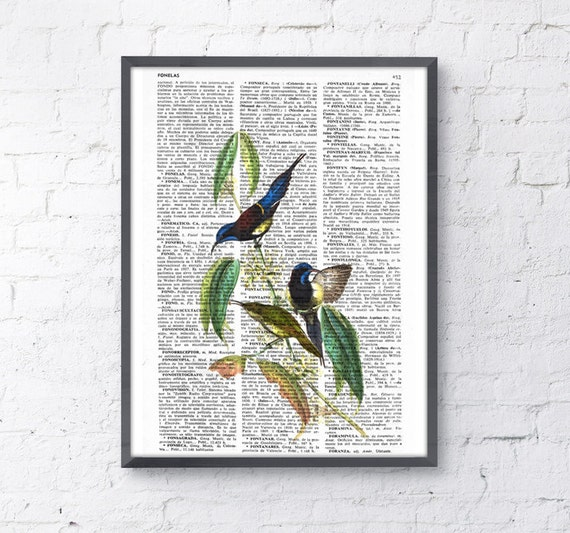 Hummingbirds, Wall art, Wall decor, Digital prints animal, Giclée, Vintage Book sheet, Nursery wall art, Prints, ANI115