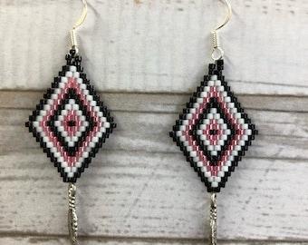 Beaded Delica Earrings, Earrings, Pink and Black earrings, Feather Earrings