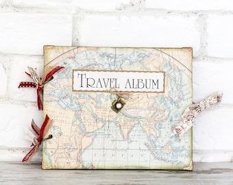 Travel Scrapbook album, Travel memory book, Travel Wedding, Wedding gift, Wedding guest book,Travel journal,Old map album,vintage map album