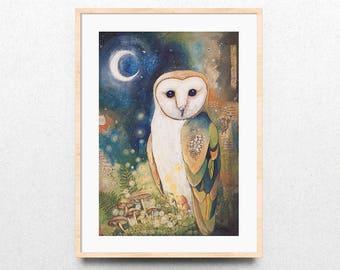 Woodland Owl Art Print, Night Owl Painting, Woodland Owl Mixed Media Painting, Giclee Mixed Media Painting, Owl Spirit Animal, Owl Totem