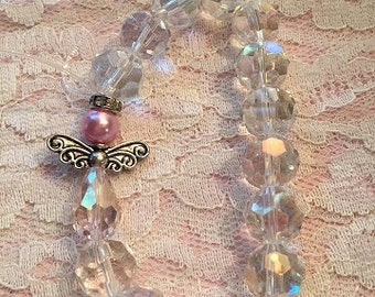Clear AB crystal beaded angel stretchy bracelet Handmade WHOLESALE listing