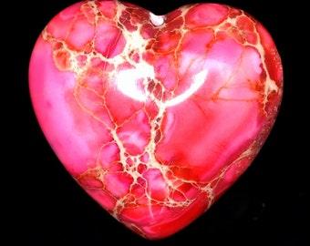 Amazing 2 Pieces Fuchsia Sea Sediment Jasper Love / Heart Shaped Cabochon J42B8196