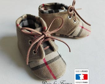 SALE! Baby chic beige tartan wool and cashmere shoes