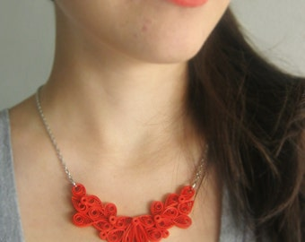 One Year Anniversary Gift for Her, 1 Year Anniversary Gift, 1st Anniversary for Wife, Red Paper Necklace, OOAK Necklace