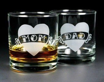 Tattoo Heart Lowball Glasses - Dad, Mom, etc. - Set of 2
