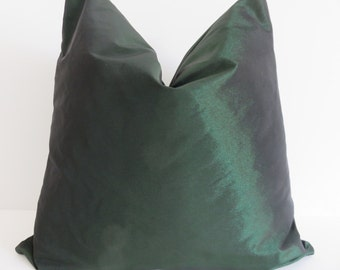 Luminous Emeral Taffeta Pillow Covers - Green Pillows - Pillow Covers - Taffeta Pillow Covers- Emeral Pillow Covers - 16x16-18x18-20x20-