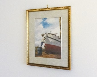 Oil Painting of Boat with Crew Nautical Italian Framed Art