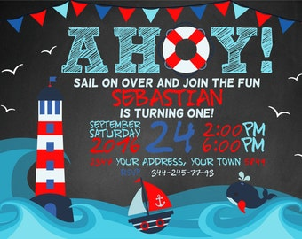 Nautical Birthday Invitation. Nautical Invitation. Nautical Birthday Party. Nautical Party Invite. Sailing ship Invite. 1st Birthday.