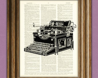 Vintage ROYAL TYPEWRITER beautifully upcycled dictionary page book art print