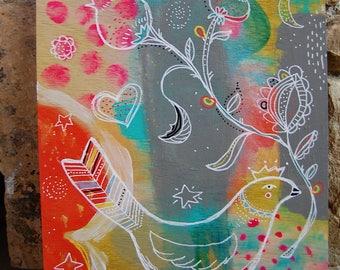 Queen Bird / Mixed Media Painting