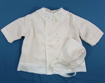 Vintage Baby Coat & Hat - Off-white Nylon, flannel lining - ca 40s-50s