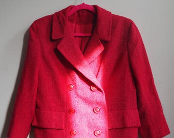 Pink Fuschia 1960s Mid Century Tweed Boucle Wool Double Breasted Suit
