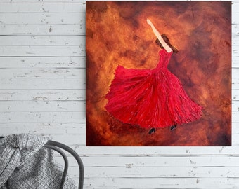 Salsa Dancer - Flamenco Dancer - Dancer in Red Dress - Textured Acrylic Painting on Canvas - Original Dancer Painting