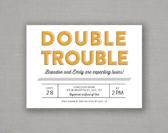 Double Trouble - Twin Baby Shower Invite