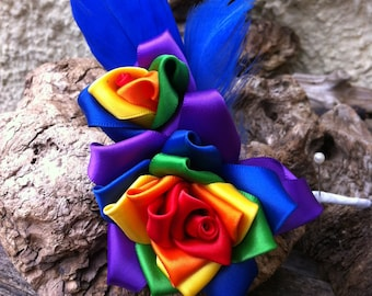 Handcrafted Rainbow Rose Corsage
