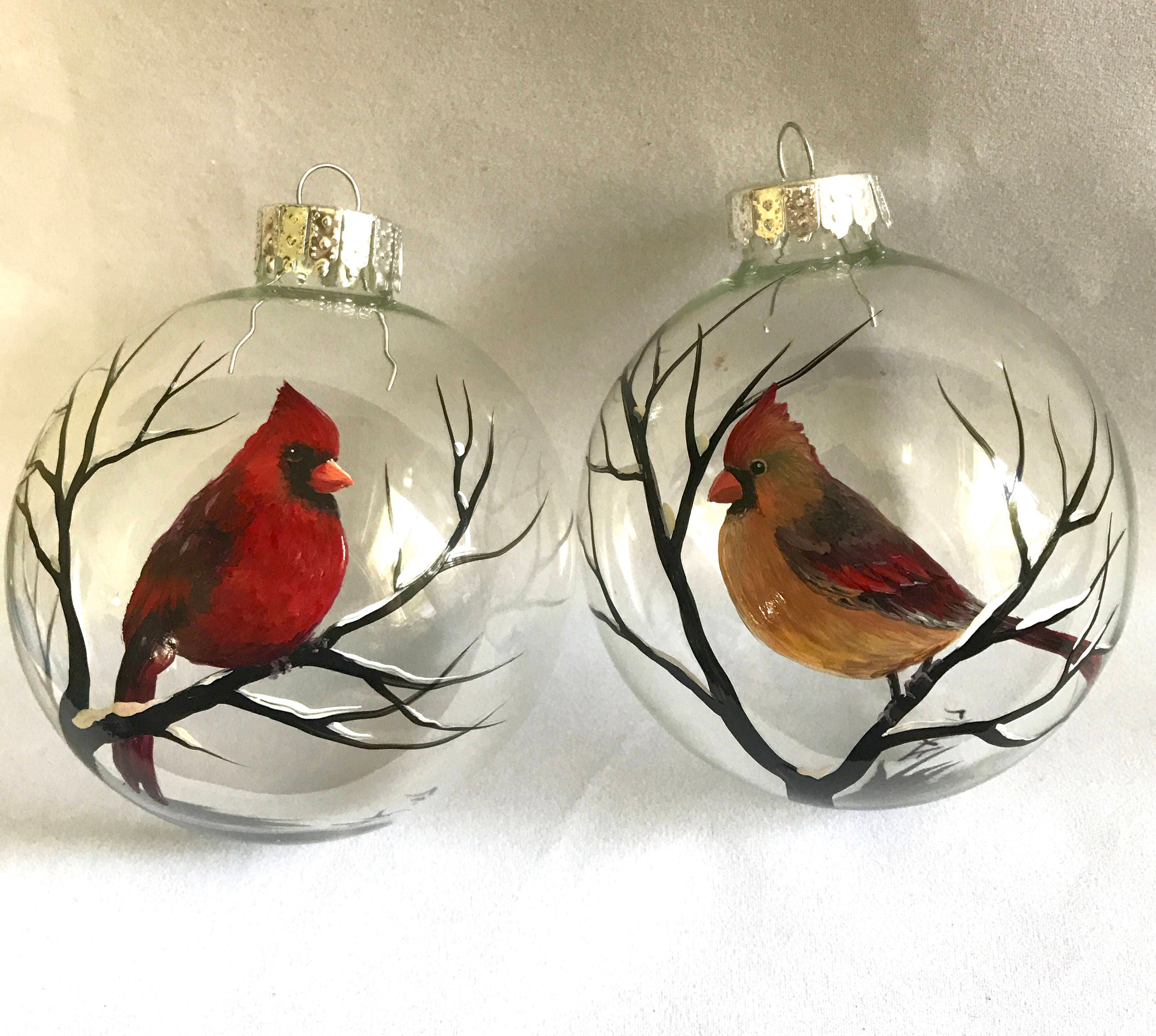 Birds On Christmas Tree: Cardinal Ornament Set Of Two Male Female Red Bird Winter